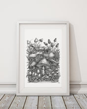 "Load image into Gallery viewer, Pen and Ink ""Spirit of the Mushroom"" Reproduction/Giclée Fine Art Print - Gnostic Forest Art"