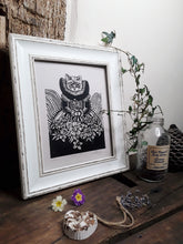 "Load image into Gallery viewer, ""Tudor Cat"" Limited Edition Original Linoprint on Pearl Grey Paper - Gnostic Forest Art"