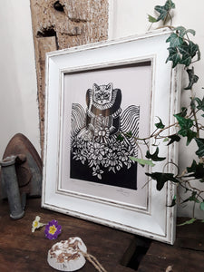 """Tudor Cat"" Limited Edition Original Linoprint on Pearl Grey Paper - Gnostic Forest Art"