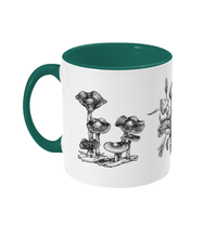 Load image into Gallery viewer, Illustrated Psilocybe Mushroom Two-tone Ceramic Mug - Gnostic Forest Art
