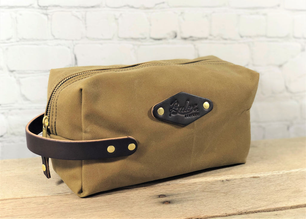 Waxed Canvas Dopp Kit, Tan