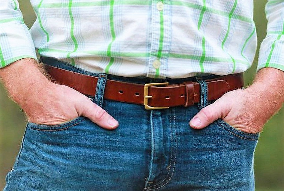 "Traditional Medium Brown 1.5"" Men's Belt"