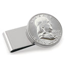 Half Dollar Coin Stainless Steel Money Clip, Silver Tone, Monogrammed, Choose The Year To Commemorate - The New Deal Shop