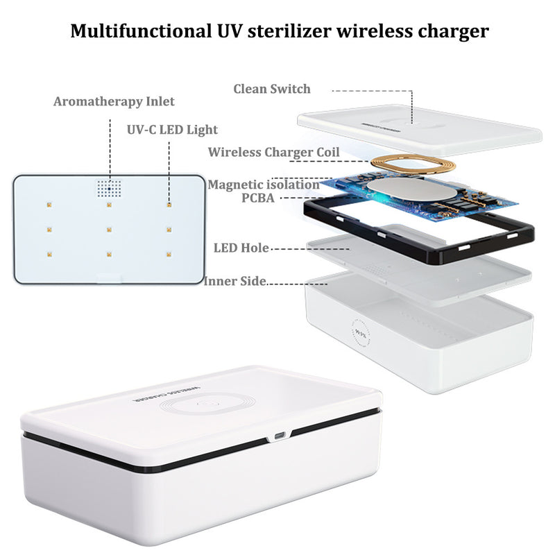 """The Clean Phone PRO"" Advanced UV Sanitizer and Wireless Charger, with Car Charger and Essential Oils - The New Deal Shop"