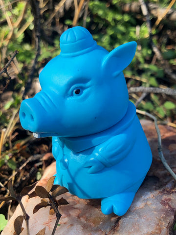 Siccalunaland one-offs paint by Patchi Jane - buck tooth blue pig