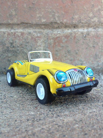 Vintage Tin Friction Sports Car - yellow - #111y