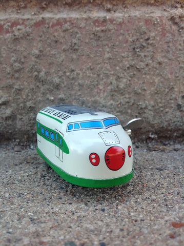 Wind Up Tin Mini Bullet Train - green #203g