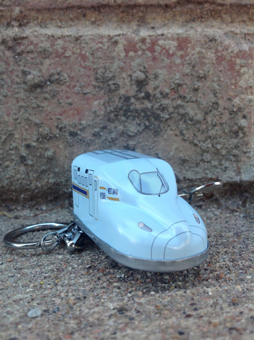 Wind Up Tin Mini Bullet Train - light blue keychain #203lbk
