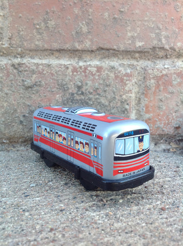 Wind Up Tin Train Single Car - red boxcar #226rbc