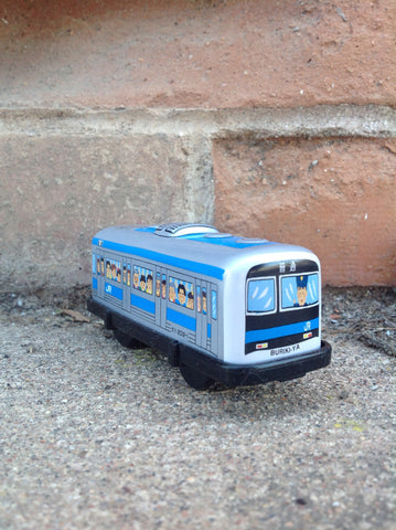 Wind Up Tin Train Single Car - blue boxcar #226bbc