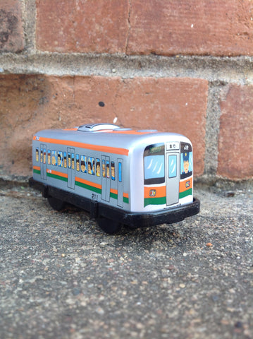 Wind Up Tin Train Single Car - orange boxcar #226obc