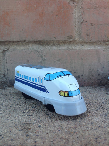 Wind Up Tin Train Single Car - white/blue engine #226wb