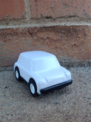 Tin Car with Wheels - blank white #243