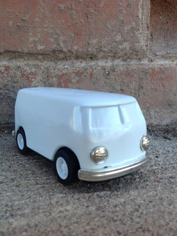 Coin Bank Tin Van with Wheels - blank white #244cb
