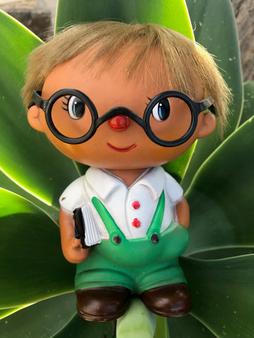 "Vintage sofubi Yonezawa 6"" schoolboy with glasses"