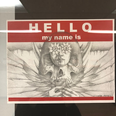 "HELLO 8.5"" x 11"" sticker art original by Dwayno"