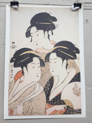 Three Beauties print by Kitagawa Utamaro