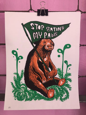 Stop Eating My Paws print by Bwana Spoons