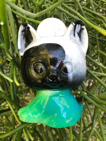 Boshi Neko - unpainted black/white / green marbled
