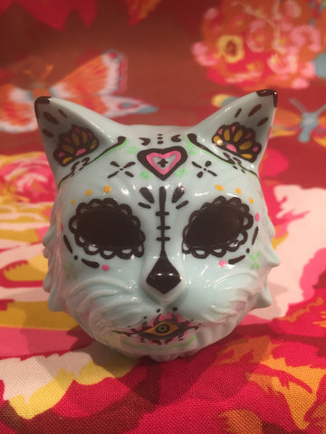 Sugar Skull Cat Head - Dcon light aqua
