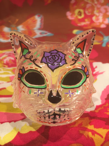 Sugar Skull Cat Head - Dcon clear/green eyes