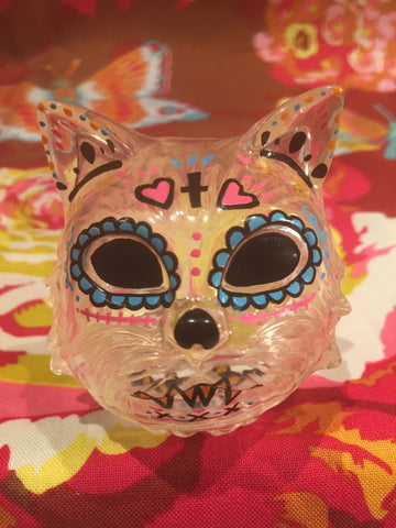 Sugar Skull Cat Head - Dcon clear/blue eyes