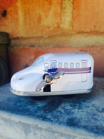 Wind Up Tin Mini Bullet Train - white #203w