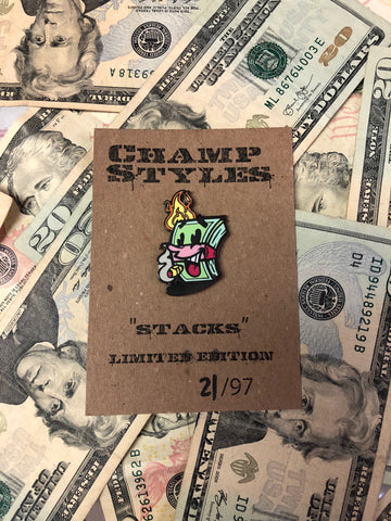 Stacks enamel pin by Champ Styles