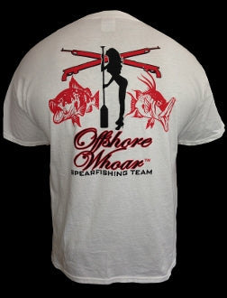 Mens Spearfishing Team T-Shirt White - offshorewhoar