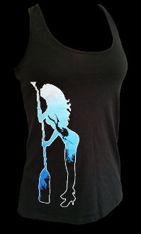 Womens Free Diver Tank Top Black - offshorewhoar