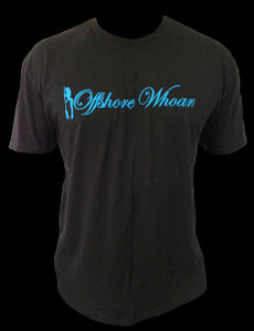 Blue Logo Tee Black - offshorewhoar