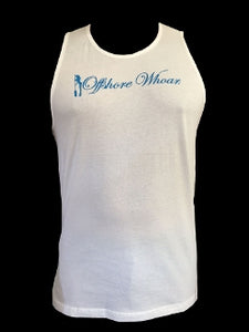 Blue Logo Tank Top White - offshorewhoar