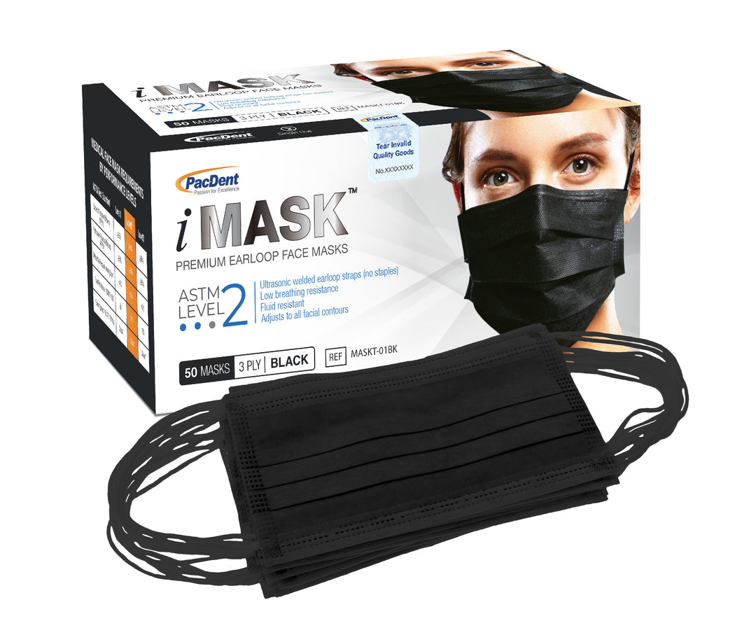 iMask™ Premium Ear-Loop Face Masks ASTM Level 2_Black