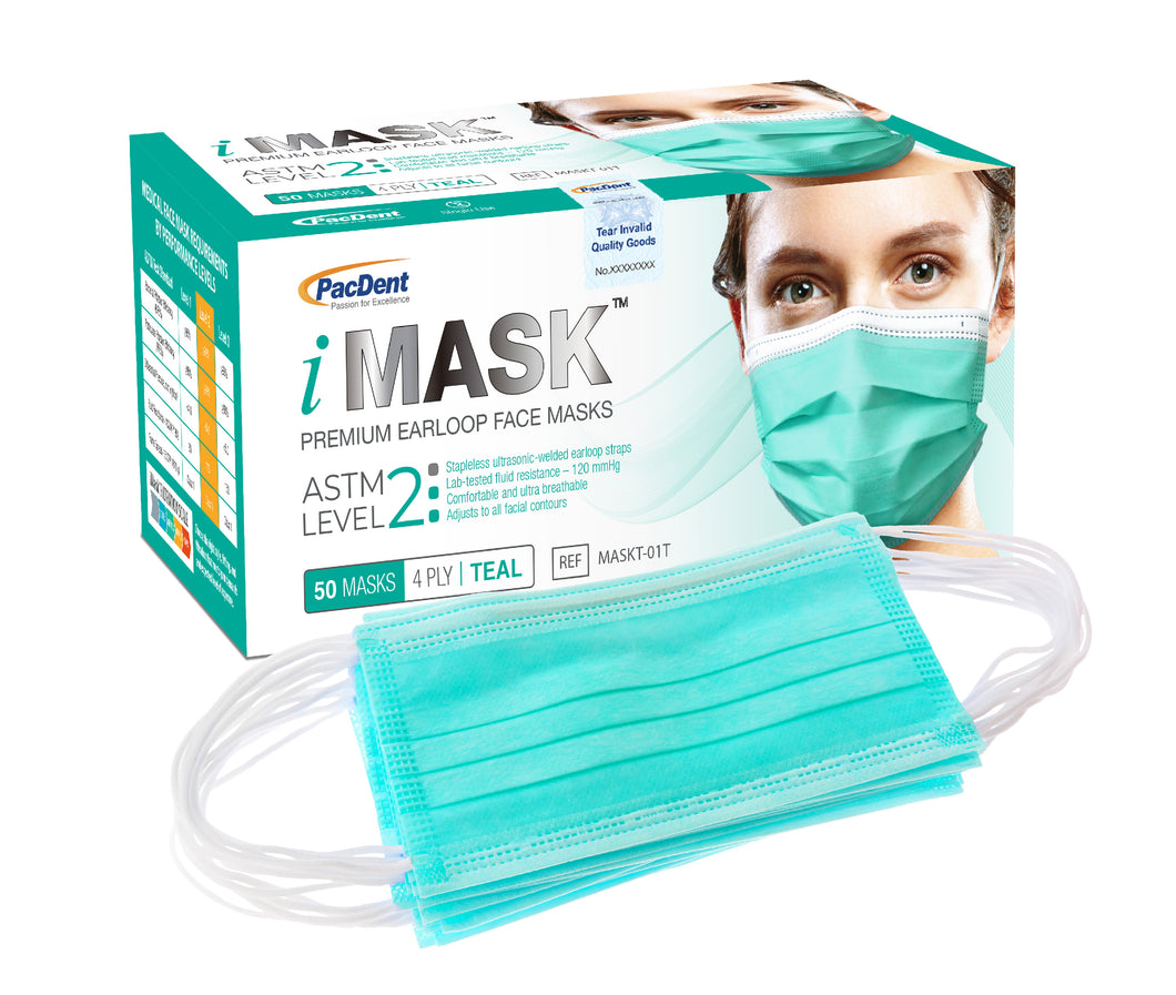 iMask™ Premium Ear-Loop Face Masks ASTM Level 2_Teal