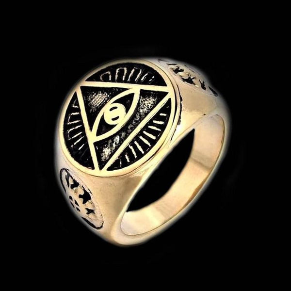 ALL SEEING EYE TRIANGLE GOLD RING - Rebelger.com