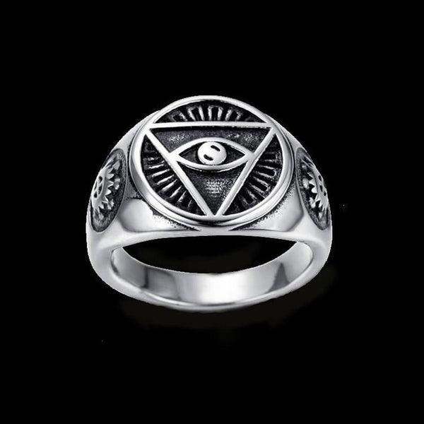 ALL SEEING EYE TRIANGLE RING - Rebelger.com