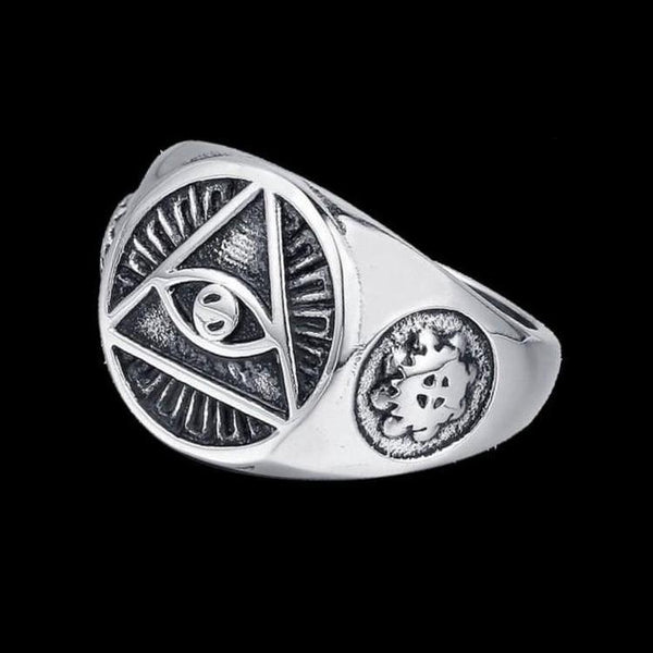 ALL SEEING EYE TRIANGLE RING-Rebelger.com