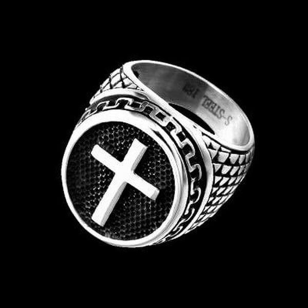 ANTIQUE CROSS RING-Rebelger.com