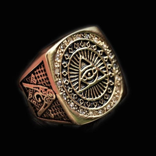 BIG GOLDEN MASONIC RING-Rebelger.com