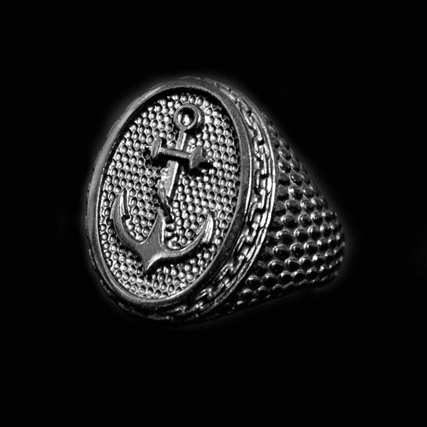 BLACK ANTIQUE ANCHOR RING - Rebelger.com