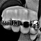BLACK LUCKY 13 RING-Rebelger.com