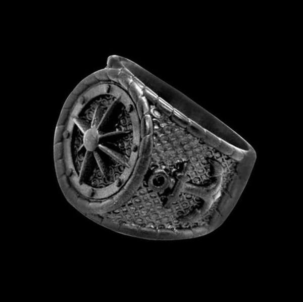 Black Nautical Navigation Anchor Ring - Rebelger.com