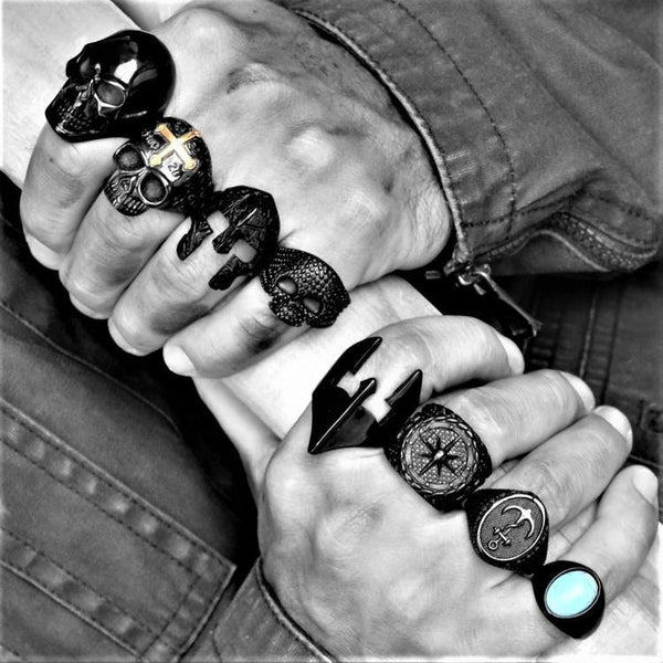 BLACK NAVAJO STONE RING-Rebelger.com