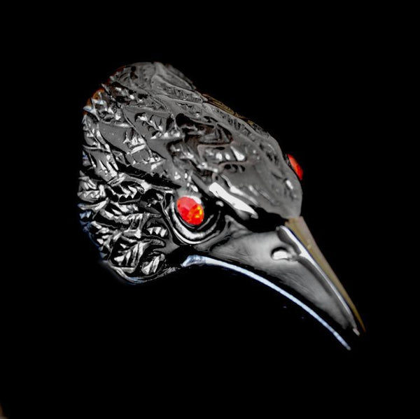 BLACK RAVEN HEAD RING - Rebelger.com