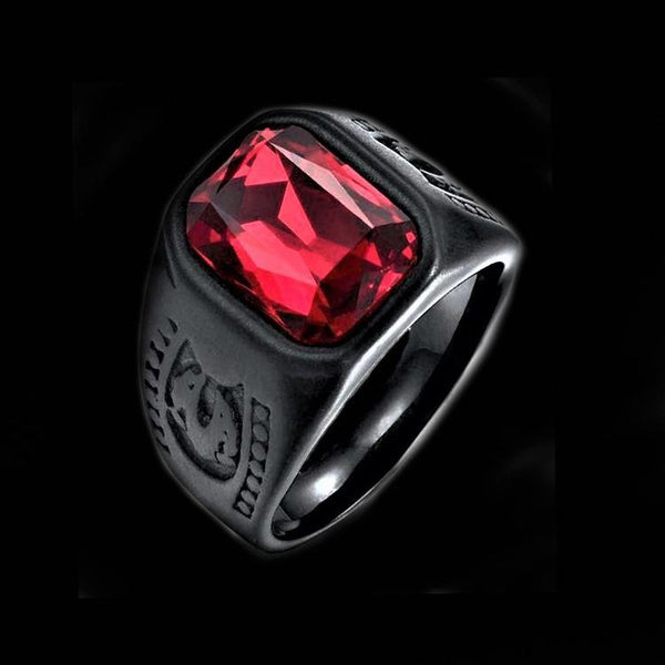 BLACK RED STONE SHIELD RING - Rebelger.com
