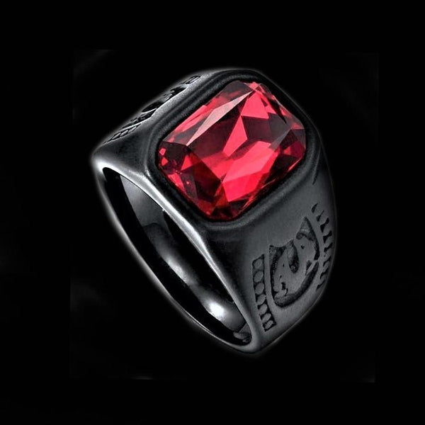 BLACK RED STONE SHIELD RING-Rebelger.com