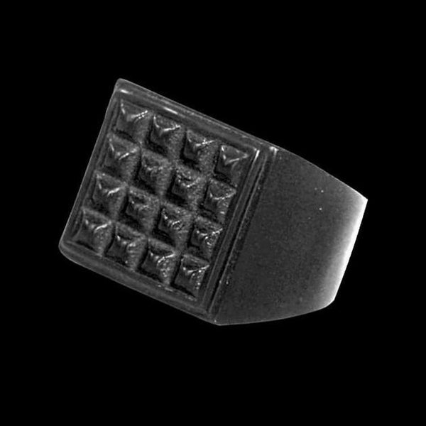 BLACK STUDDED SQUARE RING - Rebelger.com
