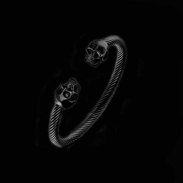 BLACK TWISTED SKULL BRACELET-Rebelger.com