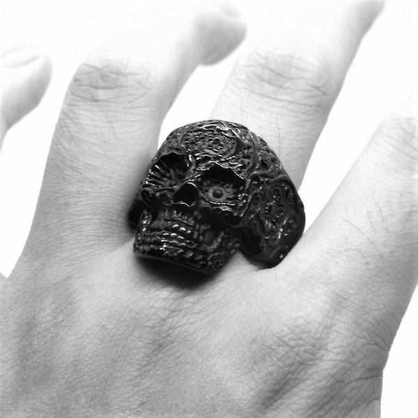 CALAVERA SKULL BLACK RING - Rebelger.com