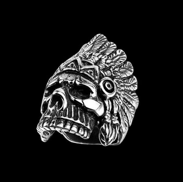 CHIEF NATIVE SKULL RING - Rebelger.com